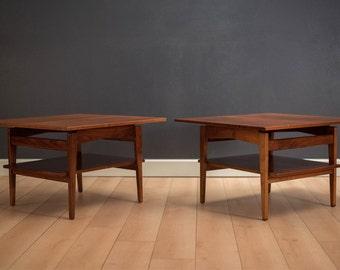 Mid Century Walnut Side Tables By Jens Risom