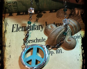 Peace Sign, Necklace, Turquoise, Soldered, Beachy Vibe, Feather, Flowers, Pearls, Crystals, One of a kind. Created By: Kari Wolf Designs