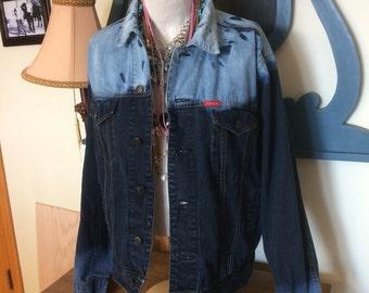 Bleach Dipped Denim Jacket Large, Bleach Dyed, Distressed Denim Jacket, Upcycled Denim, Adult Large, Ombre Bleached Denim Jacket