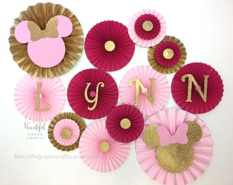 Minnie Mouse Inspired Backdrop   Minnie Mouse Paper fans   Pink and Gold Paper Rosettes   Minnie Mouse 1st Birthday   Minnie Mouse Backdrop