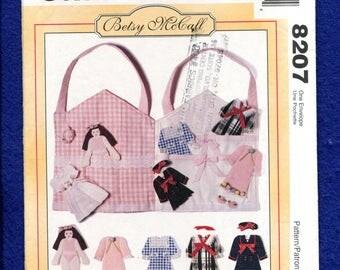 McCalls 8207 Fabric Paper Dolls Dresses & Carrying Case UNCUT
