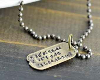 Personalized Dog Tag Necklace, Hand Stamped Mens Necklace, Mens Personalized Jewelry, Fathers Day Gift