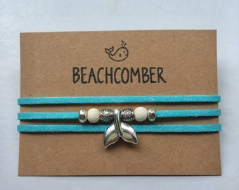 wrap bracelet, mermaid jewelry, beachcomber turquoise faux suede bracelet, beach boho bracelet