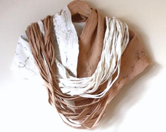 Women infinity scarf - Cobweb felted wool Circle scarf - necklace / natural white and beige - winter scarf - Mothers day gift
