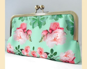 Wedding clutch bag, handmade with pink roses on green print, antique brass or silver frame, bridal purse with optional personalisation