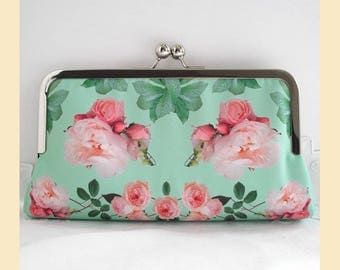 Clutch bag, green clutch, pink roses, bridal purse, evening purse, bridesmaids gift