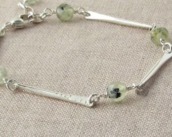 Hammered Silver Gemstone Bracelet, Natural Stone and Silver Bracelet, Hammered Silver Bar Bracelet, Prehnite Silver Bracelet, B79