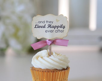 Wedding Cupcake toppers, And they lived happily ever after, Vintage style, Shabby Chic, 12 toppers