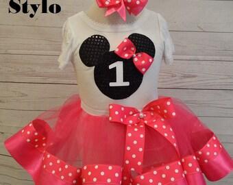 minnie mouse birthday outfit, FREE SHIPPING,birthday girl outfit, minnie mouse birthday tutu,hot pink tutu,ribbon tutu, polka dots,