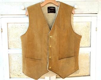 Vintage 70's Shearling Tan Suede Leather Vest, Ralph Edwards Sportswear, Men's size M
