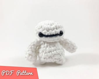 PDF Pattern for Crocheted BayMax from Big Hero 6 Amigurumi Kawaii Keychain Miniature Doll Plush