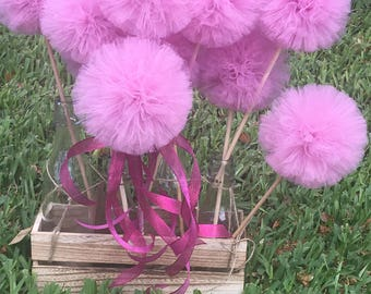 Set of (6) pink tulle wands  centre pieces for your events