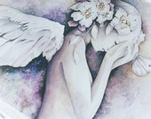 """THE AWAKENING Limited Edition of 50, Signed and Numbered by Artist, Giclee Angel Art Print, 13"""" x 19"""""""