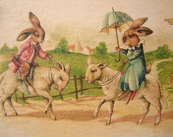 Victorian style, Best Easter Wishes, bunny rabbits riding sheep, Spring image on wooden tag with string hanger