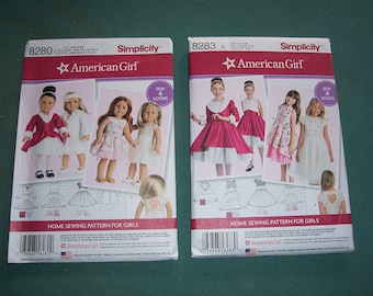 Simplicity 8283 or Simplicity 8280...Girl's and American Girl Patterns...Fancy Dress Patterns....Sizes 3-8....New in Package