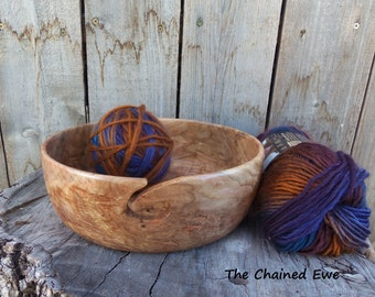 Yarn Bowl, Wooden Knitting Holder