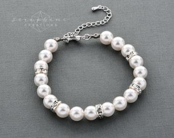 Bridal Pearl Bracelet Single Strand Pearls Wedding Jewelry Rhinestone Spacers White Ivory Cream Bling Bridesmaids Gifts Bridal Laelia B01