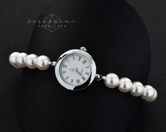Pearl Watch, Pearl Bracelet Watch, Bracelet Watch, Bridal Pearl Bracelet, Wedding Jewelry, Wedding Bracelet, Swarovski Pearls Z01