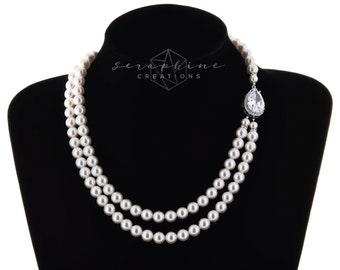 Wedding Pearl Necklace Bridal Jewelry Wedding Necklace Double Strand Bridal Necklace Swarovski Cubic Zirconia Statement Teardrop Vesta N04