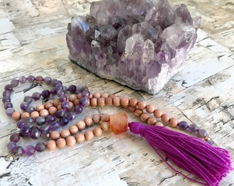 Faceted Amethyst & Rosewood Meditation Mala Necklace.