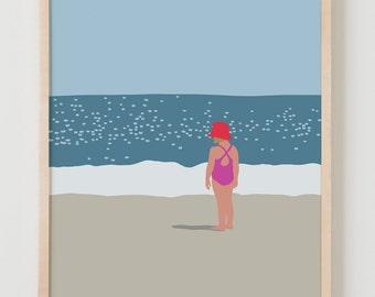 Fine Art Print.  Girl Standing at Beach.  July 18, 2013.