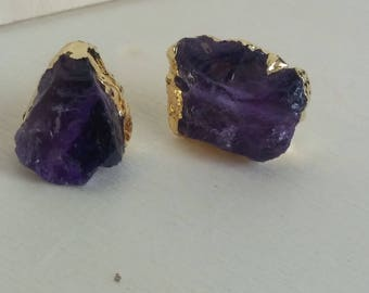 Amethyst Cluster Stud Earring.  Amethyst Gold Dipped Studs. Natural Stone Earring. Raw Amethyst Stud. Gift For Her