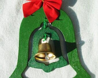Glittery Wooden Rining Bell - Handmade Holiday Decor