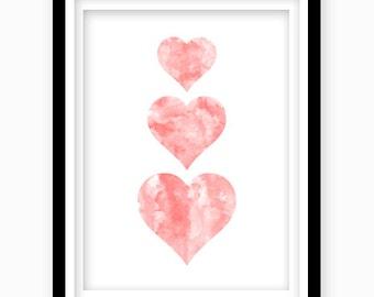 Watercolor Heart Print, Pink Heart, Digital Download, Pink Nursery Wall Decor, Printable Wall Art, Pink Girls Bedroom Decor, Nursery Art