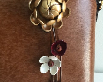 Shimmy's leather flower purse charm and keychain in gold