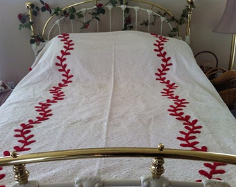 RETRO Chenille BEDSPREAD high quality Red and White, Vintage 1940's-1950's   * rounded corners*