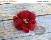 SALE The Bella Collection - DARK RED Chiffon Flowers - Petite Chiffon Flowers with Pearl and Rhinestone Centers Headband Flower Diy Clips Fl