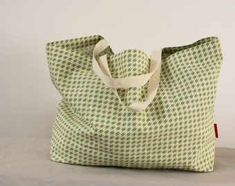 Nikkie's Simple Tote-Eco bag, Grocery bag, Beach bag - Green and white