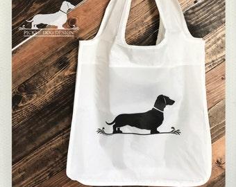 Doxie Fleur De Lis. Tote Bag -- (Reusable, Shopping Bag, Bag, Dog Bag, Dog, Dachshund, Vintage-Style, Weiner Dog, Eco Chic, Christmas Gift)