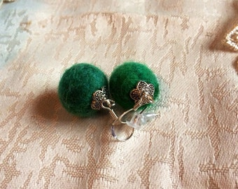 Green Earring Felt Jewelry Felt Ball Earrings BOHO Eco Friendly Emerald Green Earrings Wool Felt Felted Earrings