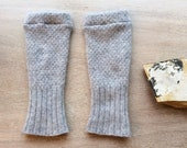 Fingerless Gloves in grey cashmere, wrist warmers, typing gloves in greys