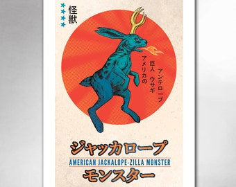AMERICAN Jackalope-Zilla MONSTER 13x19 Art Print by Rob Ozborne