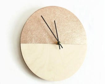 Rose Gold Leather Wall Clock, Home and Living, Home Decor, Decor and Housewares, Wood and Leather Clock