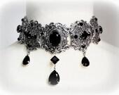 Black Gothic Choker Black Swarovski Choker Crystal Choker Silver Filigree Necklace Black Gothic Wedding Necklace Black Wedding Jewelry