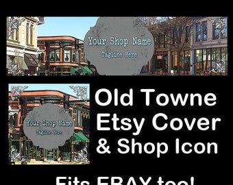 OLD TOWNE Etsy Large Cover Banner Set/Premade Etsy Banner/Vintage Shop Etsy Banner,Historic Town, Etsy Banner, Ebay