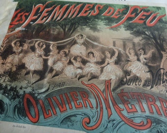 3 Beautiful Victorian Music Sheets, Scores, French Illustrated Covers