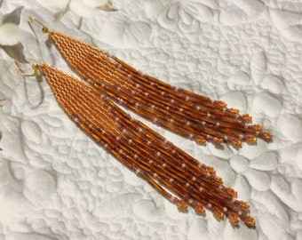 Long hand beaded Delica earrings Shiny Squash Amber dark Amber light coral Native Boho
