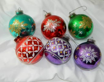 Six Vintage Glass Ornaments Made in Austria
