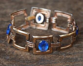 Vintage Sterling Silver Bracelet Gold Vermeil Blue Rhinestones Square Links Embossed Floral Clasp Retro 1940's // Vintage Silver Jewelry