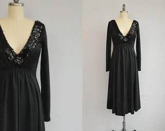 Vintage 1970s Dress /  70s Black Sequin Disco Midi Dress