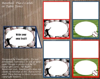 Baseball Place Cards or Table Tents ~INSTANT DOWNLOAD~