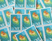 50 pieces - Vintage unused 1991 52 cent Love Birds - Parrots stamps - great for tropical wedding invitations