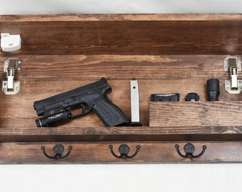 Rustic Wood Coat Rack with Hidden Gun and EDC compartment with magnetic lock