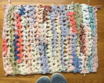 Crochet Rag Rug Teeny Mat Multicolor Vintage Fabric