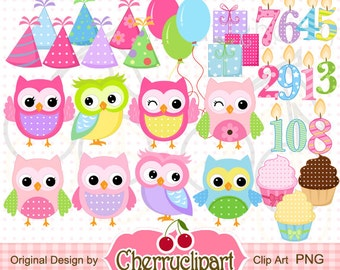 Birthday Owls Digital Clipart Set-the hats are separately,Birthday candles numbers 1 through 10 -Personal and Commercial Use