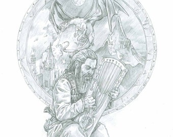 The Hobbit Tolkien print - Thorin 5 x 7 inches - Gift for a Tolkien fan.